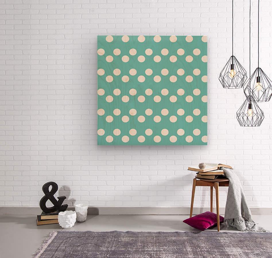 Dark Slate Gray Polka Dots  Wood print