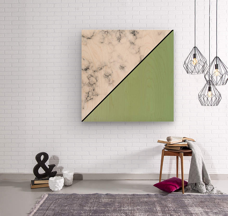 ABSTRACT MODERN YELLOW GREEN MARBLE  Wood print