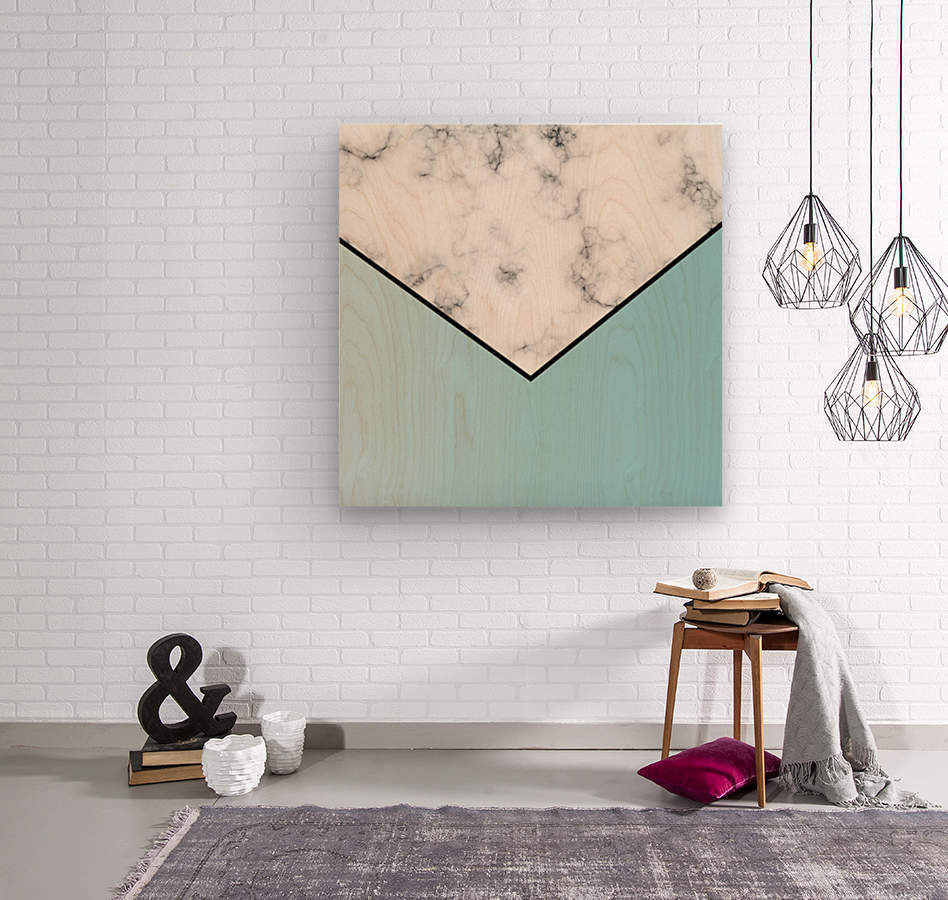 ABSTRACT BLUE TINT MODERN MARBLE  Wood print