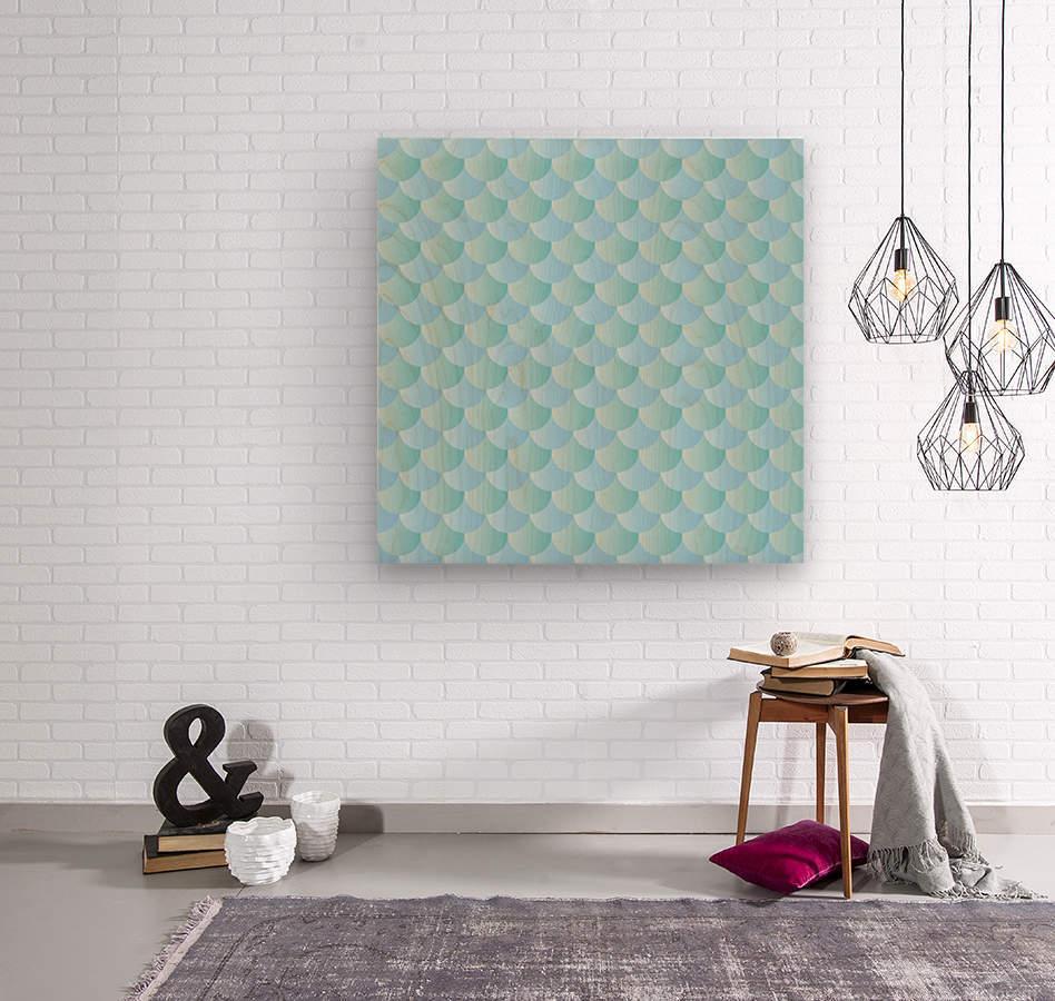 GREEN PASTEL MERMAID PATTERN  Wood print