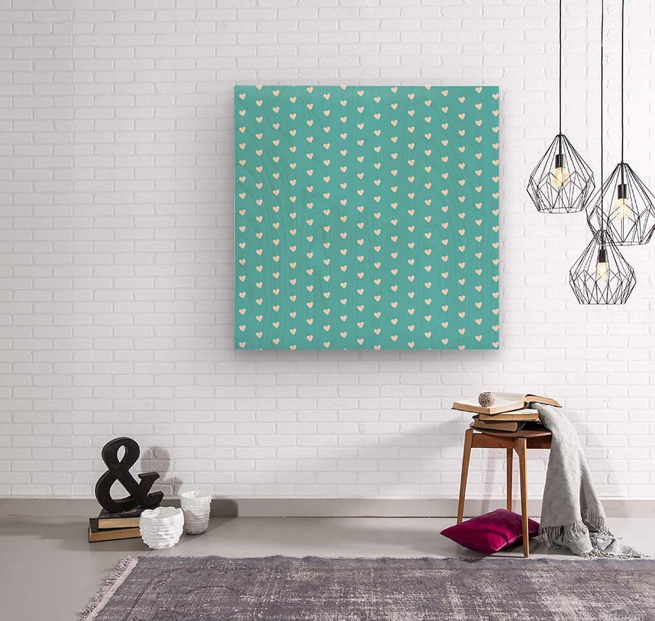 Sweet Light Blue Heart Shape Pattern  Wood print