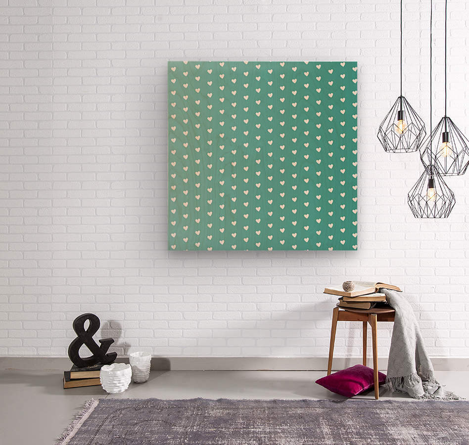 Teal Green Heart Shape Pattern  Wood print