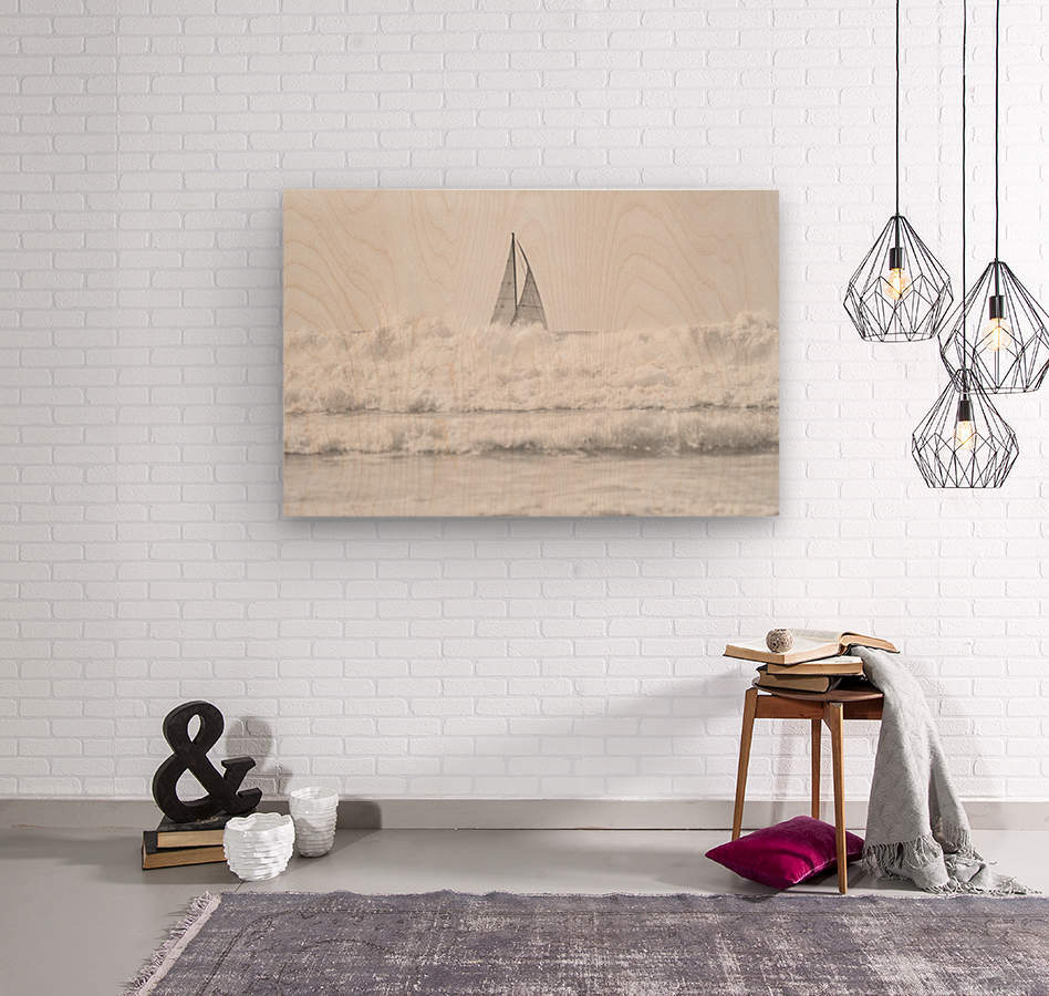 SAILING IN THE SURF  Wood print