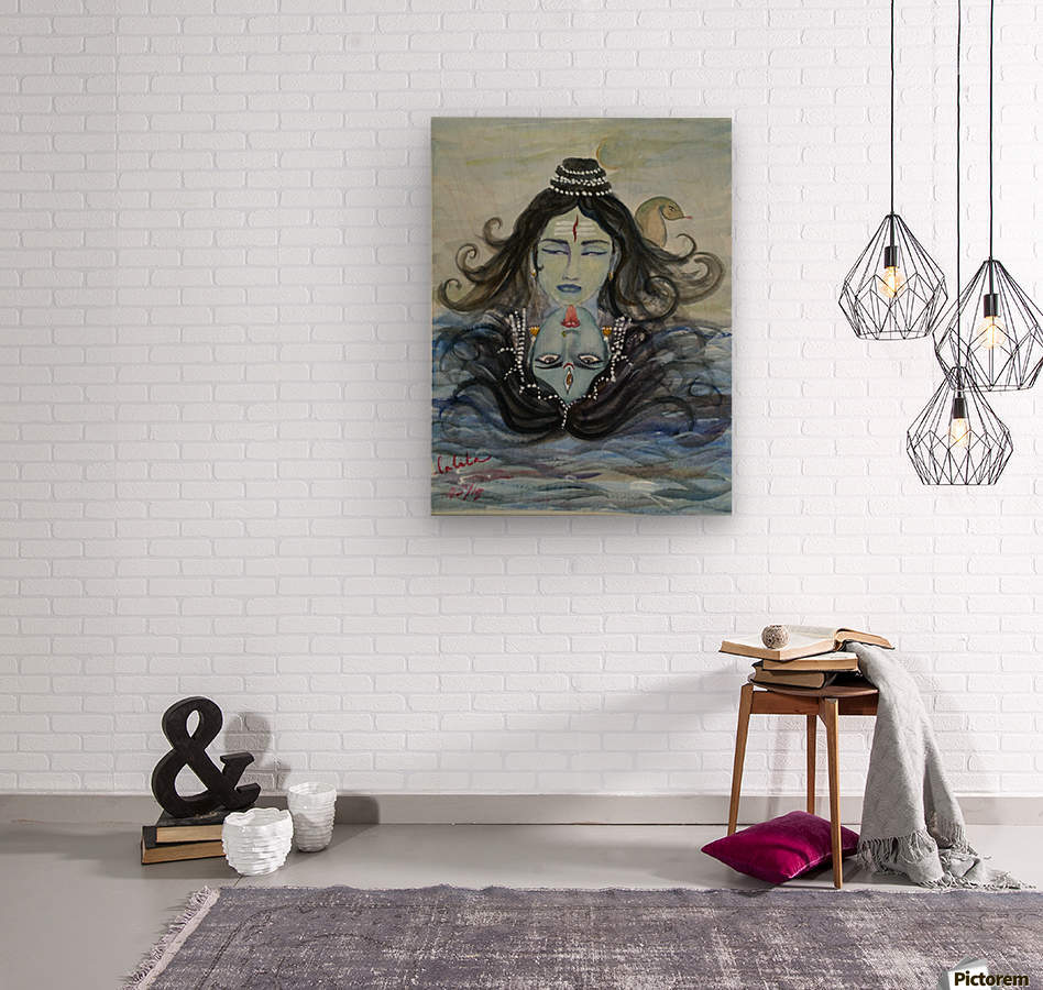 Shiva shakthi   Wood print