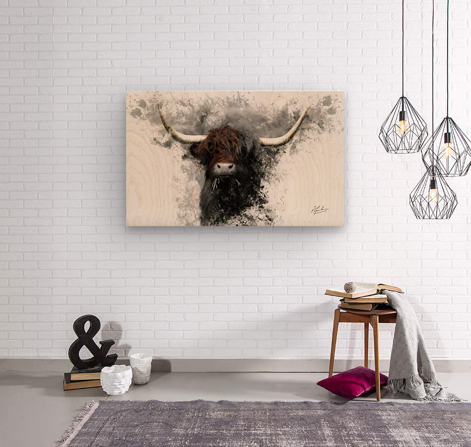 Highland Cow in Ink  Wood print