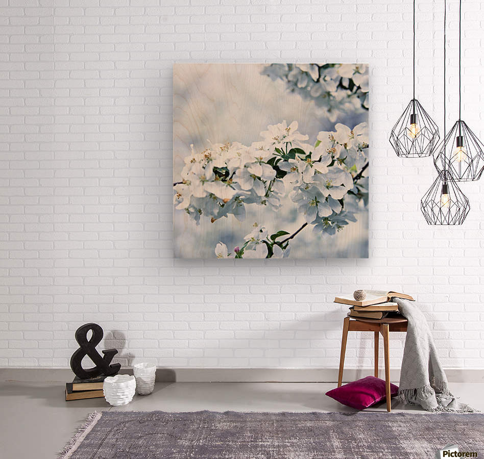 Cherry tree flowers  Wood print