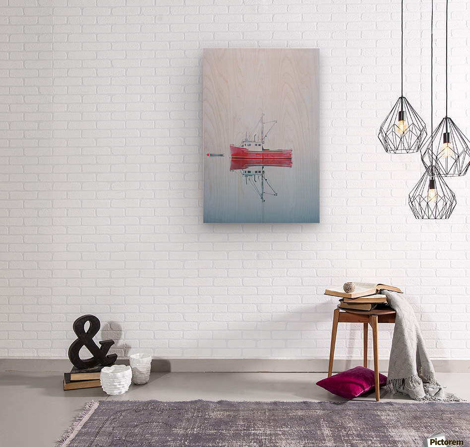 New Brunswick - fishing boat reflected in water  Wood print