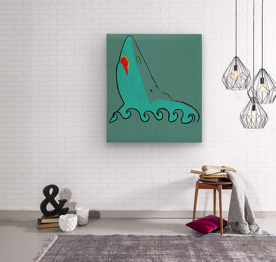 an abstract illustration of the blue shark head in blue background vector  Wood print