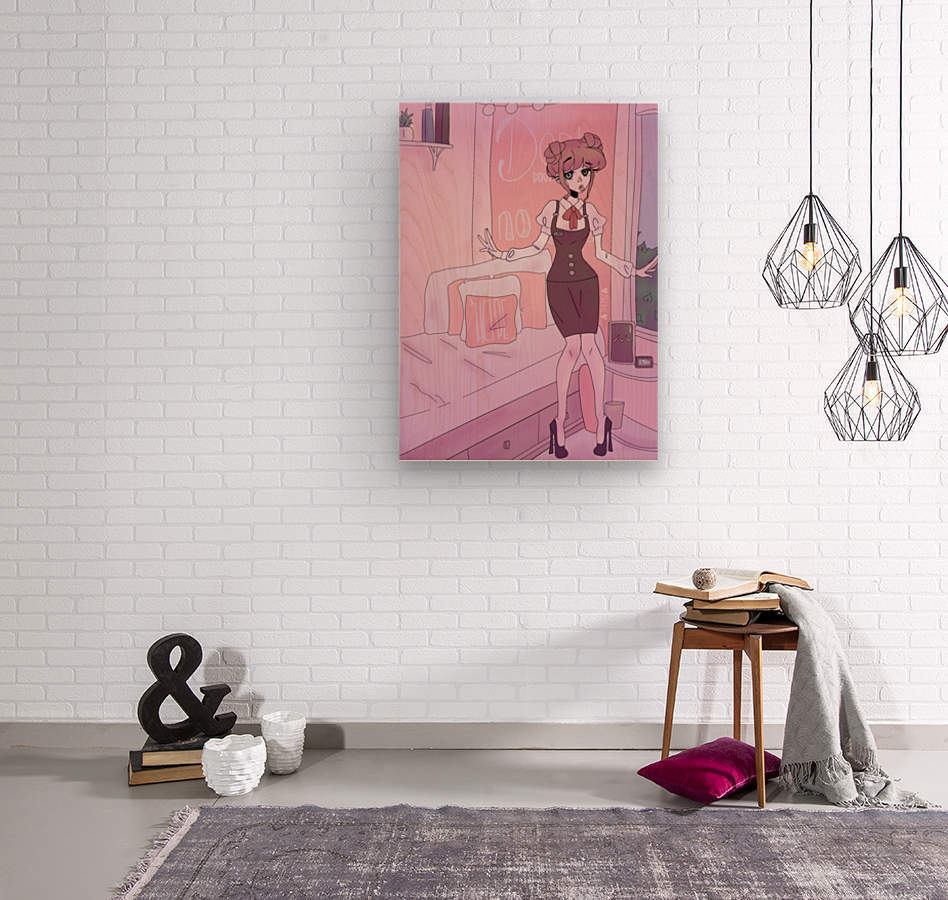 Original Female Character Cat in bedroom - Cell shaded version   Wood print