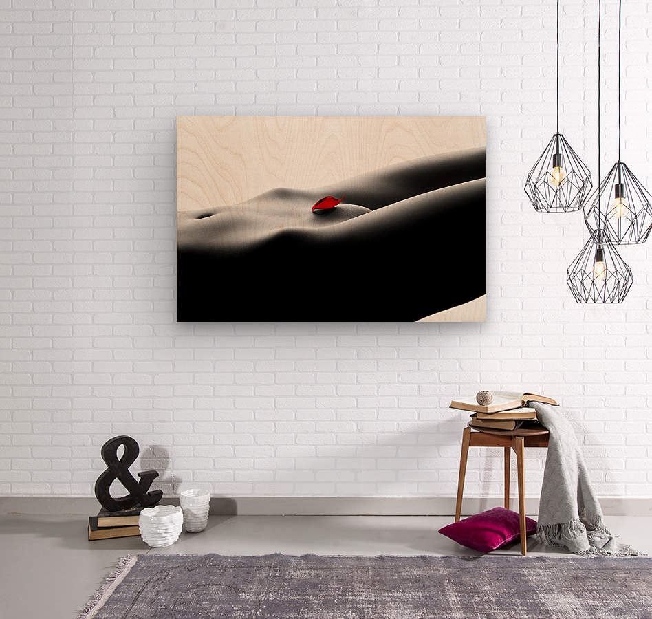 Nude bodyscape on white 1  Wood print