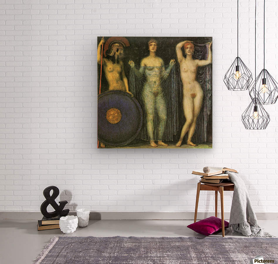 The three Goddesses Athena, Hera and Aphrodite by Franz von Stuck  Wood print