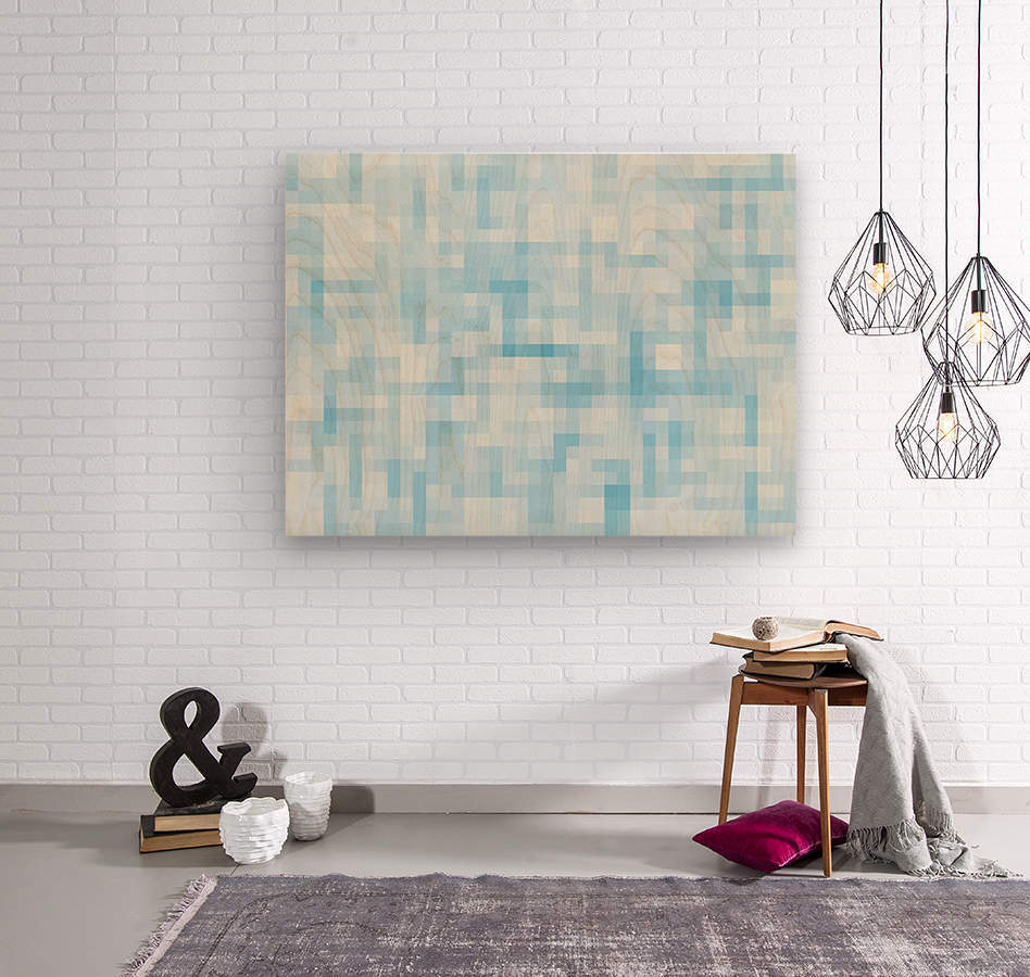 geometric square pixel pattern abstract in blue  Wood print
