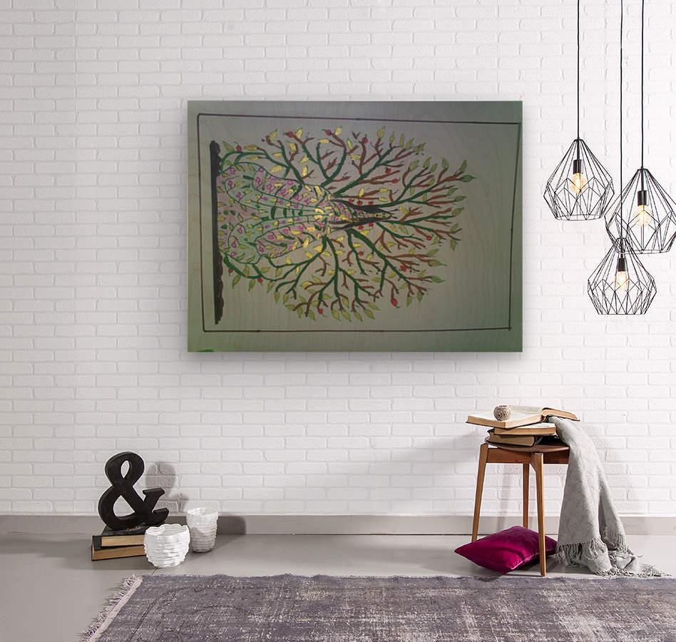 tree with angel art  Wood print