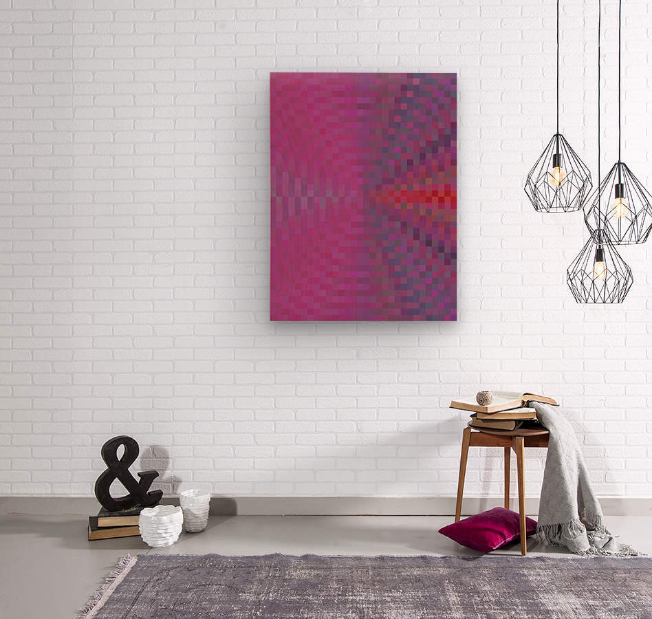 geometric square pixel pattern abstract background in pink and blue  Wood print