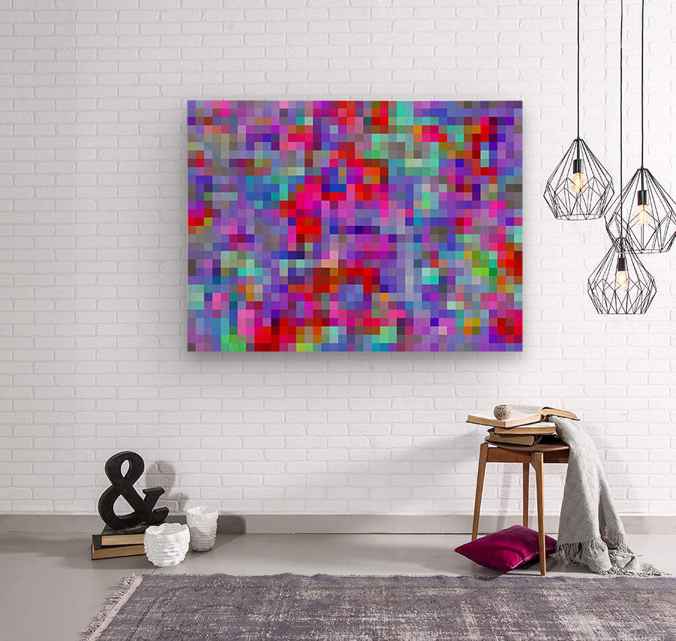 geometric square pixel pattern abstract background in blue purple pink red  Wood print