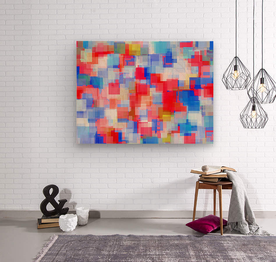 geometric square pattern abstract background in red and blue  Wood print