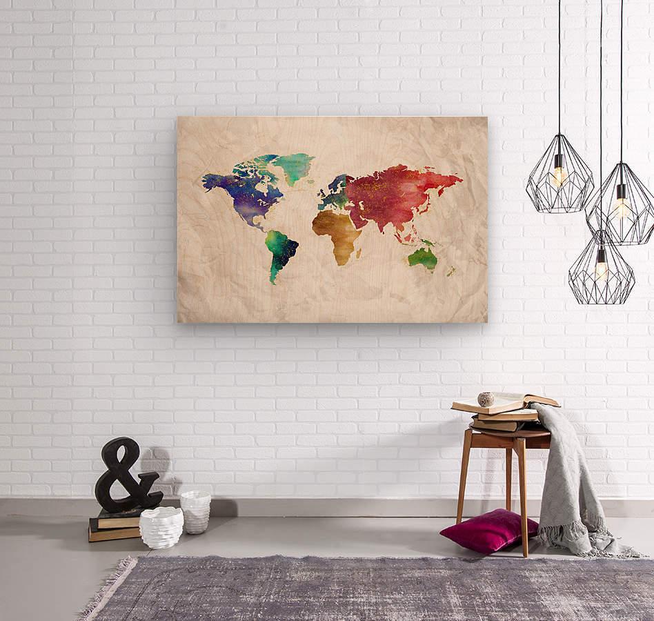 Artistic World Map II  Wood print
