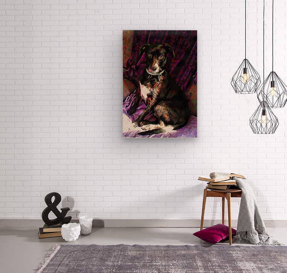 Purple Posing Puppy  Wood print