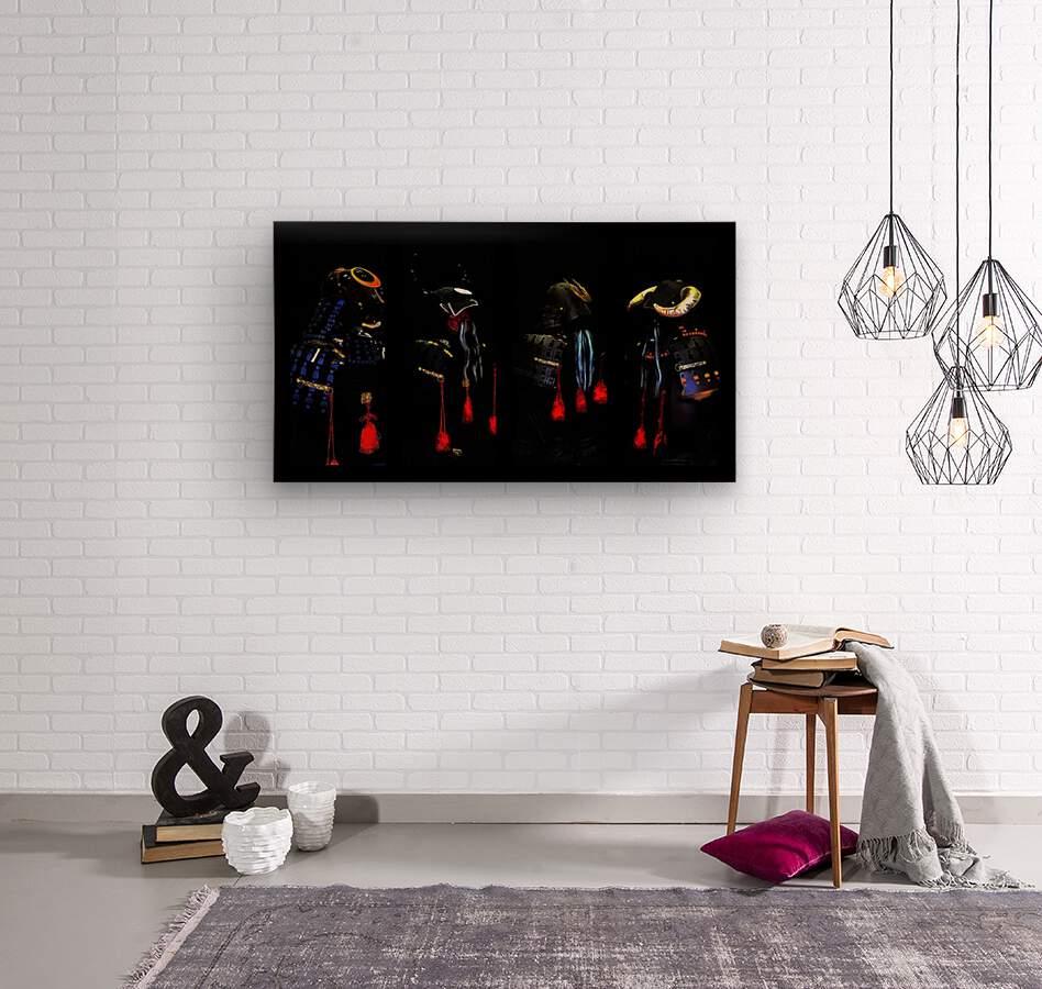 Memories of Samurai Black Armour Collage  Wood print