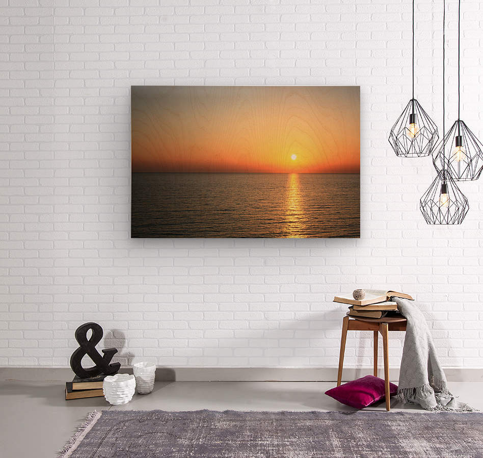 Warm horizon  Wood print
