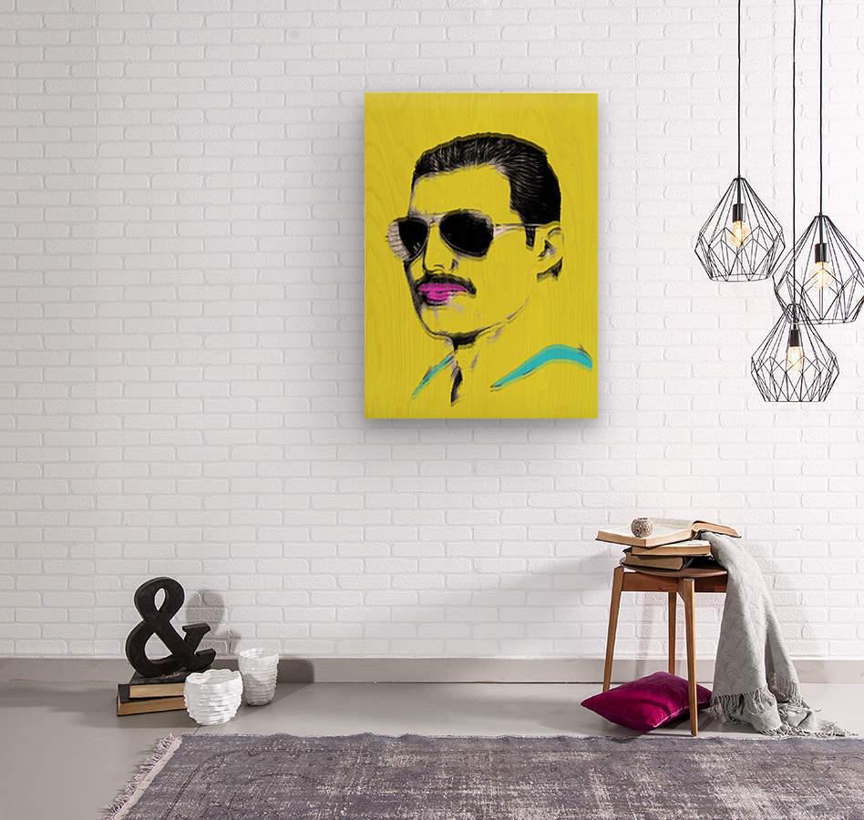 Yellow Freddie Mercury  Wood print