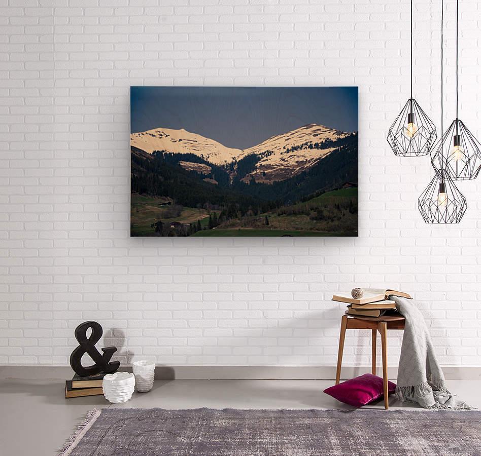 Snowy Alps  Wood print