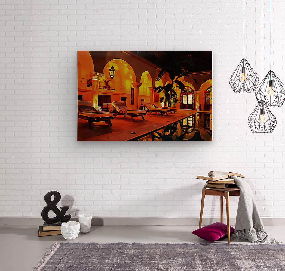 Riad At Night In Marrakech  Wood print