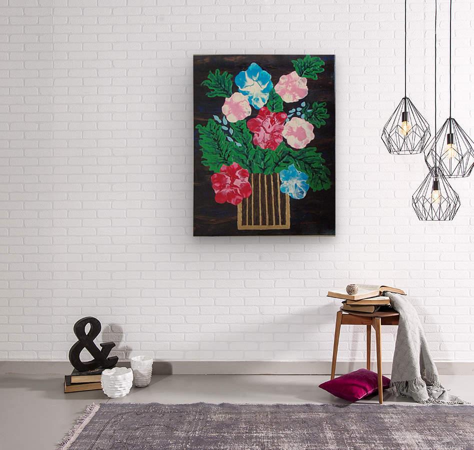 Flowers in box  Wood print