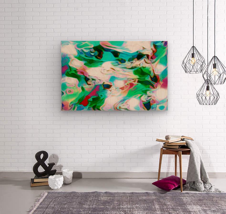 Waterfall - multicolor abstract swirl wall art  Wood print