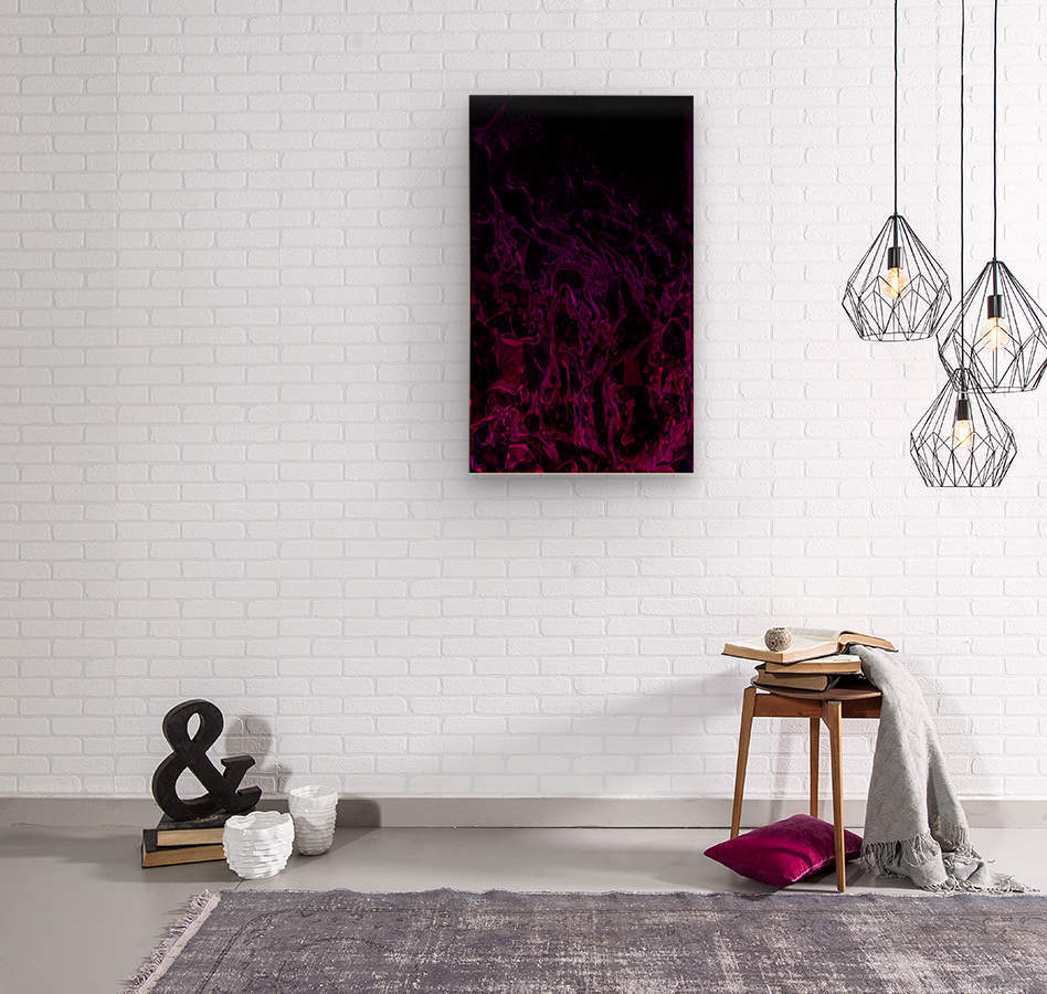 Drowning In Rubies -red hot pink black gradient abstract polygons and swirls  Wood print