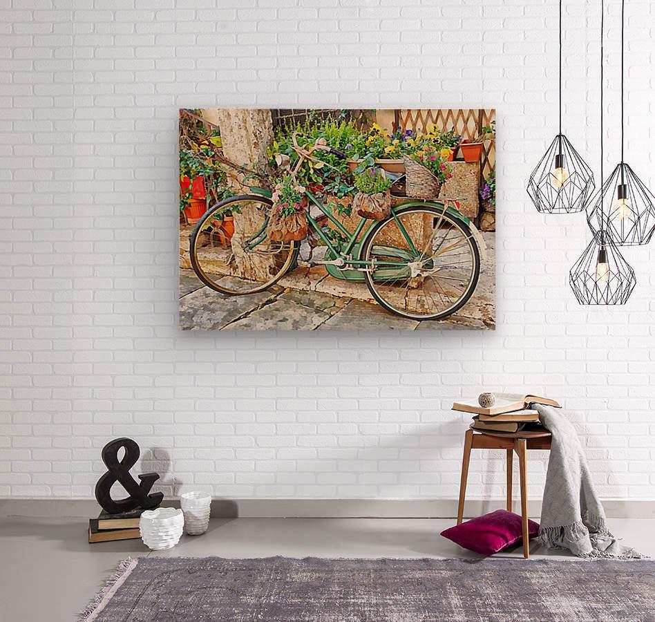 Decorative Bicycle In Cortona  Wood print