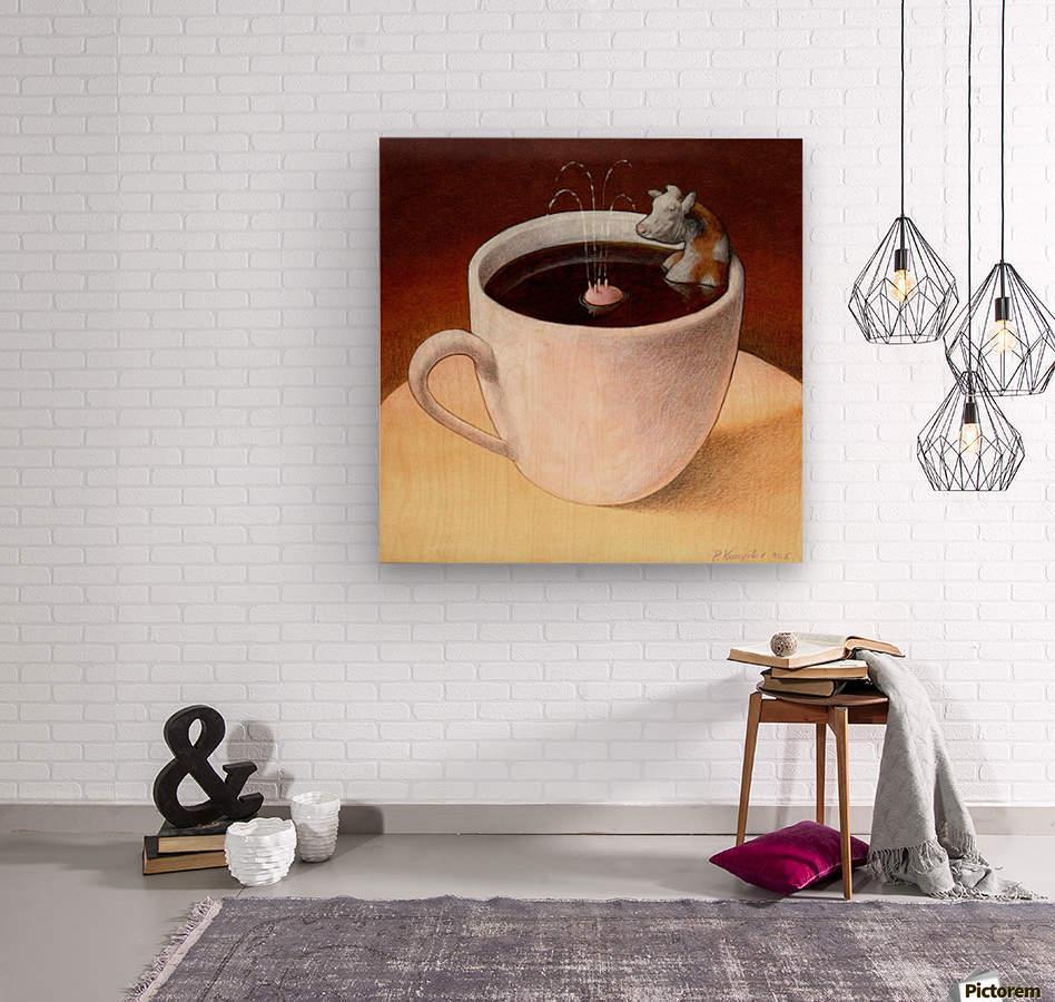 Coffee with milk  Wood print