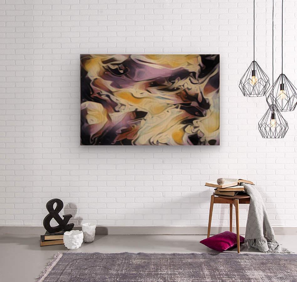 Cosmic - multicolored abstract swirl wall art  Wood print