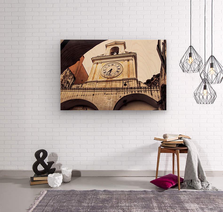 The Church  - Tower Clock  Wood print