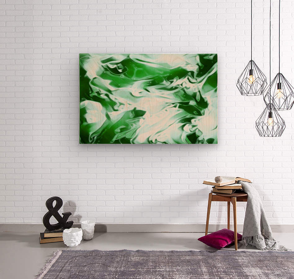 Clover - green white abstract swirl wall art  Wood print