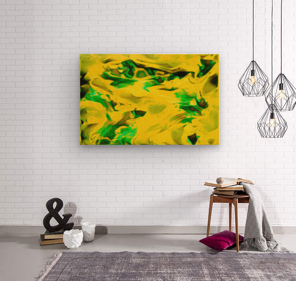Golden Synchronicities - gold green abstract swirl wall art  Wood print