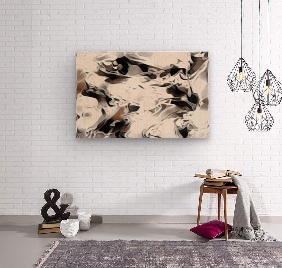 Brown Sugar & Coffee - brown grey white black swirls large abstract wall art  Wood print
