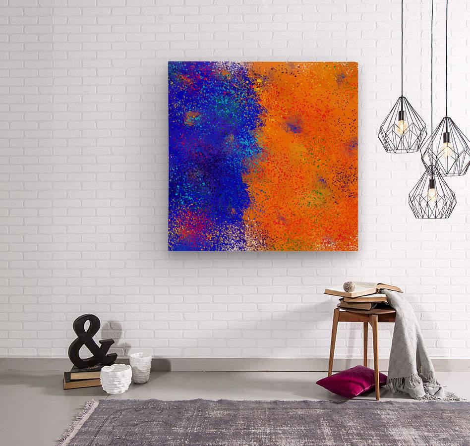 Seisnahorra - orange and blue balanced freedom  Wood print