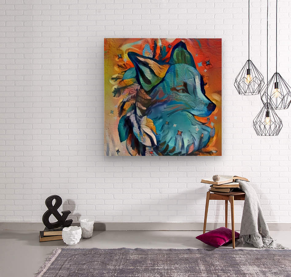The Blue Wolf  Wood print