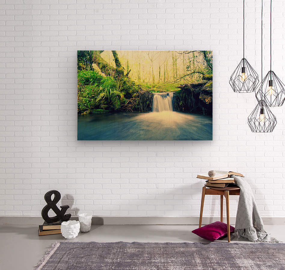 waterfall river nature forest   Wood print