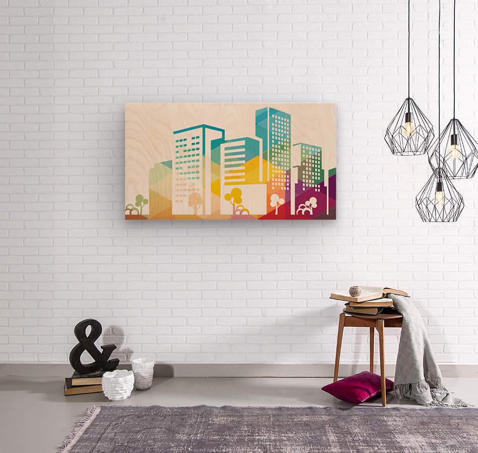 silhouette cityscape building icon color city  Wood print