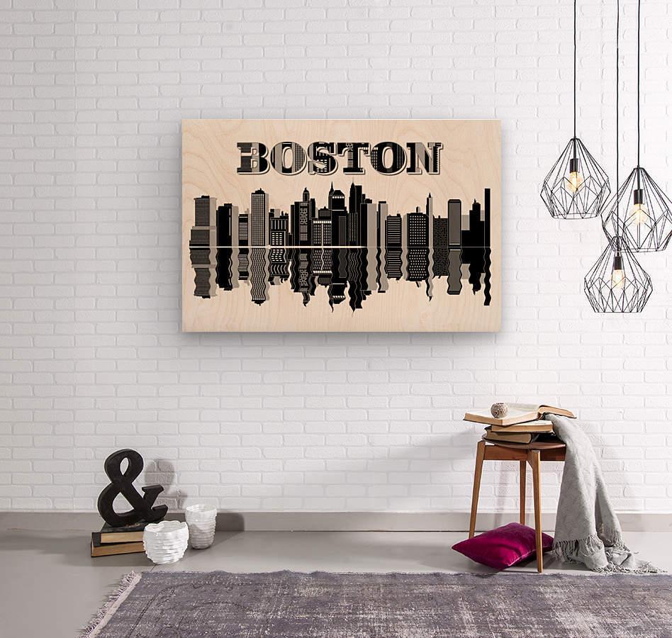 Boston cityscape buildings skyscrapers  Wood print