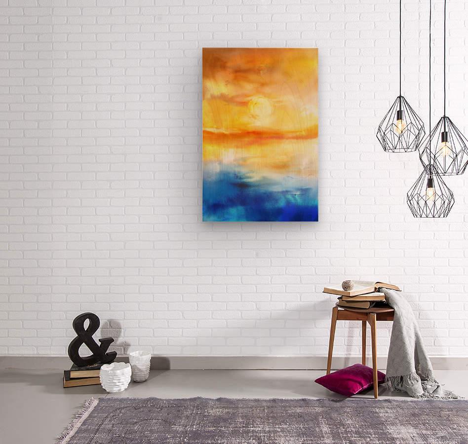 Abstract Warm Sunset I  Wood print