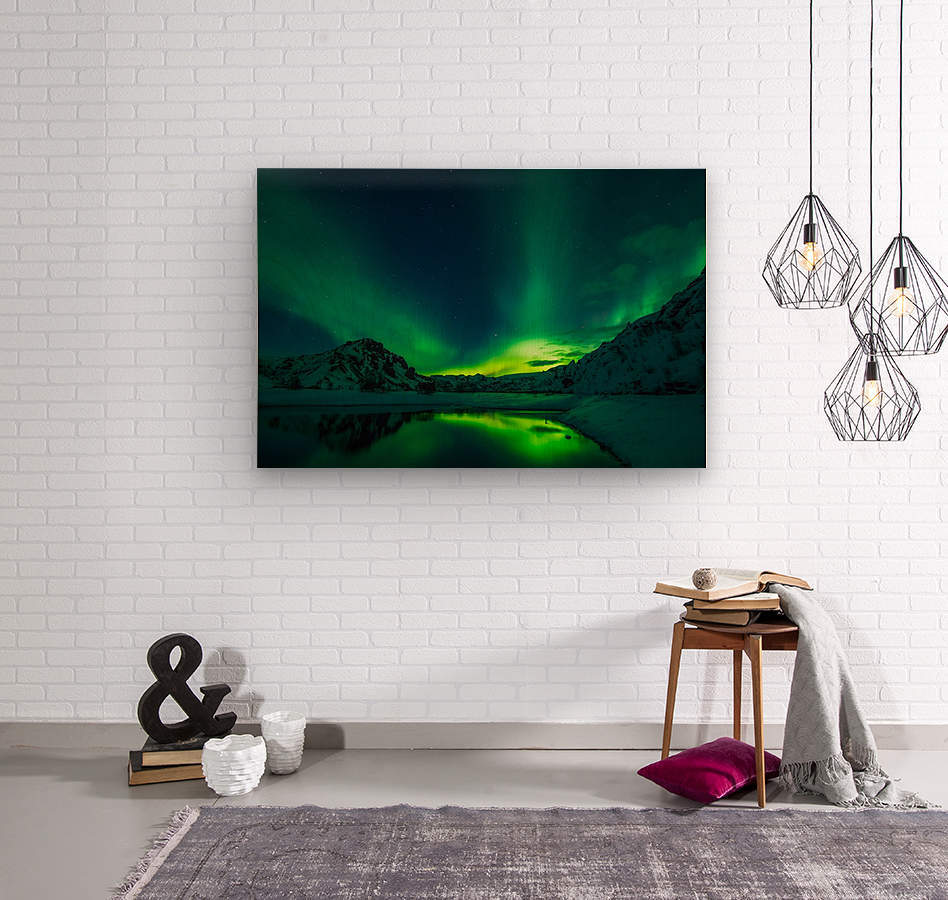 iceland aurora borealis  Wood print