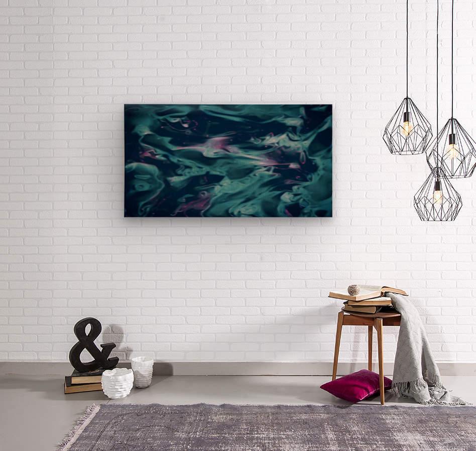 Magic Snake - turquoise blue purple swirls abstract wall art  Wood print