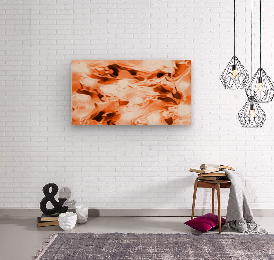 Orange Cream - orange black white swirls abstract wall art  Wood print