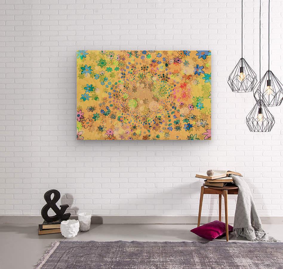 flowers color colorful watercolour  Wood print