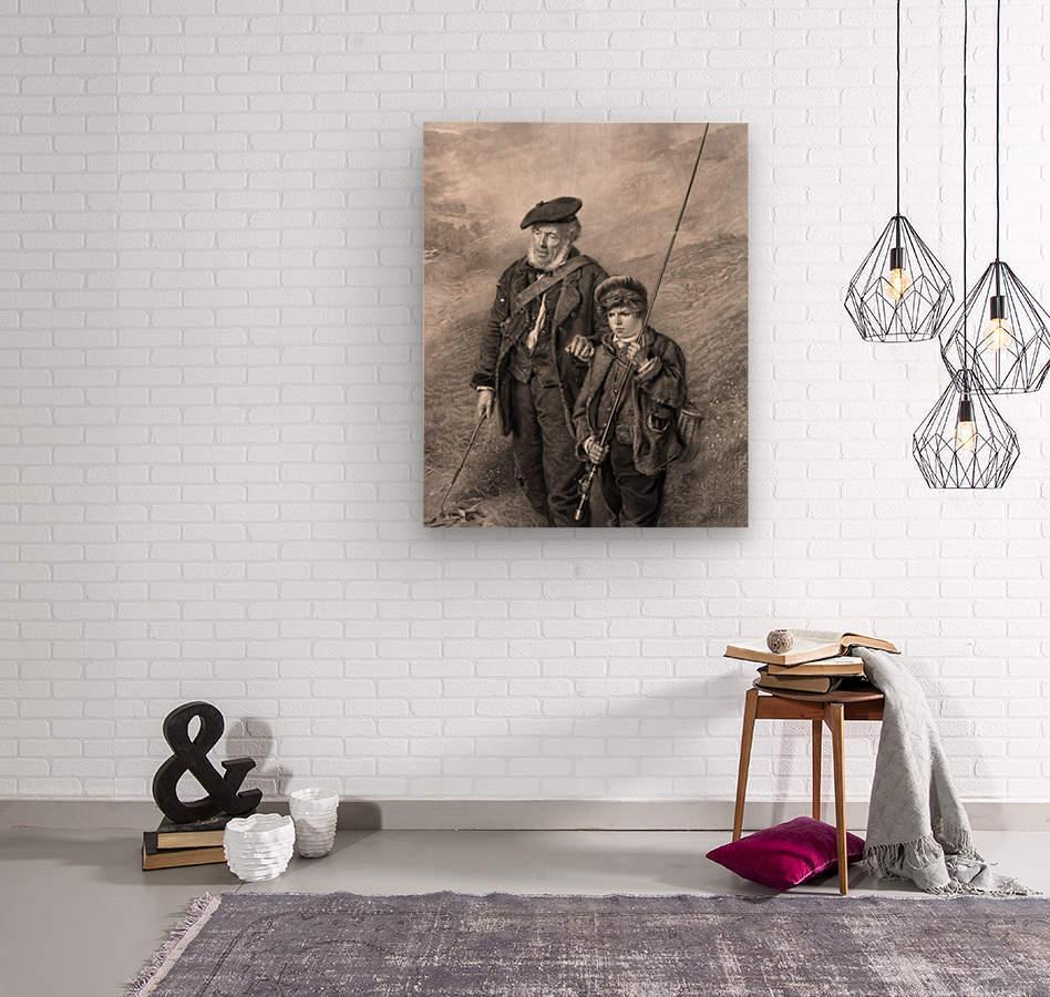 sea fishing fishing man boy lad  Wood print