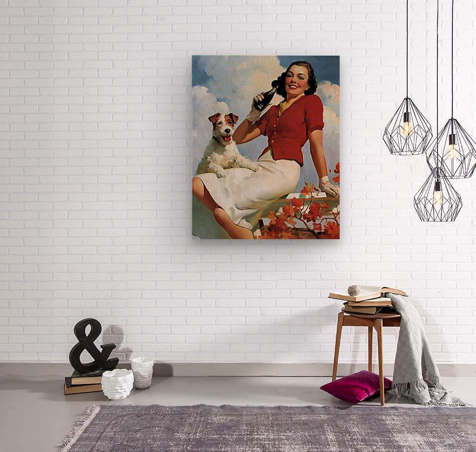 vintage poster soda woman and dog  Wood print