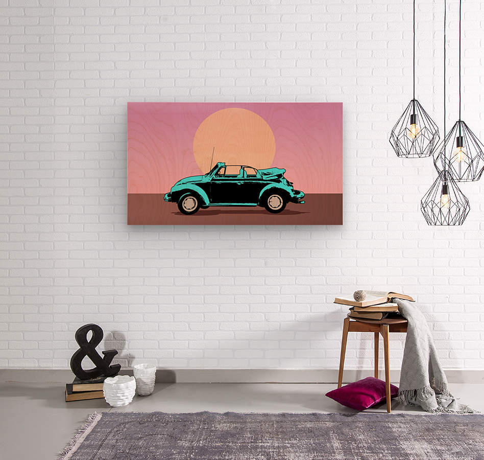car poster retro vintage landscape  Wood print